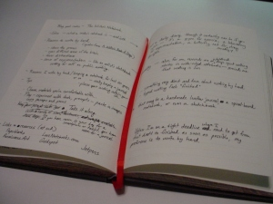 My current journal, open to the notes and brainstorming for this blog post.